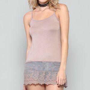 Tops - Mocha Boho Tank Mesh Lace Cami Shirt Extender